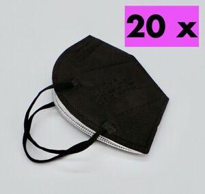 20xFFP2 Schutz Maske Atemschutz Mundschutz Atemschutzmaske Zertifiziert Schwarz-
