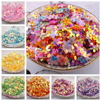 100Pcs 10mm Shimmer Flower Loose Sequins With Golden Tone Paillette DIY Sewing