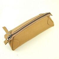 Women Genuine Leather Makeup Bag Beauty Case Cosmetic Vintage Clutch Pen Purse