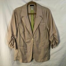 Mark Womens Size XXL Blazer Jacket Ruched Sleeves Tan Single Button Career