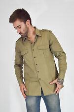 VINTAGE Camisa Verde Militar Manga Larga de Algodón Talla L Talla M Hombre