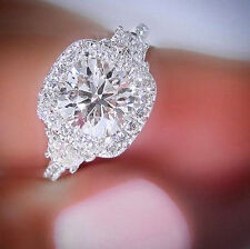 Fine 1.60Ct Halo Round Cut Diamond Half Moon 3-Stone Engagement Ring G,VS2 GIA
