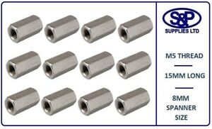 5MM M5 STAINLESS DEEP HEX NUT CONNECTOR NUT M5 X 15MM LONG ALLTHREAD NUT ST/ST