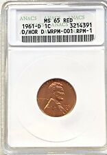 1961-D/HORIZONTAL D LINCOLN CENT  -  ANACS MS65RED  -  FREE SHIPPING!