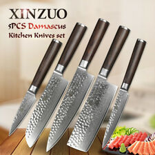 XINZUO 5 pcs high carbon Damascus kitchen knife set chef knife  tools for hotel