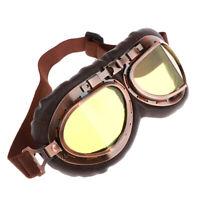 Lunettes de masques de moto pilote rétro vintage en cuir PU # 4
