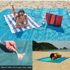 "Sand Proof Beach Blanket Extra Large Beach Mat Sand Free 79""x79� Outdoor Blue Us"