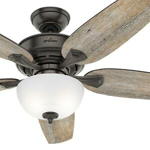 Hunter Fan 54 inch Casual Nobel Bronze Indoor Ceiling Fan with Light and Remote
