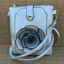 Silver Rose Small Bag with Smart Phone Spectacle Holder Long Cross Body Strap