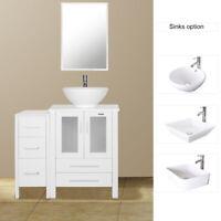 "36"" Bathroom Vanity White W/Small Side Cabinet & Ceramic Vessel Sink Top Modern"