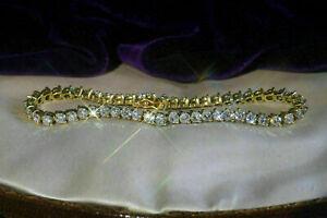 5.40 Ct Round Cut Brilliant Diamond Tennis Ladies Bracelet 10k Yellow Gold VVS2