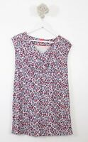 Joules ladies Floral Top Long Line Blue Mix Summer Sleeveless Holiday Sz 10