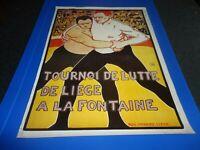 AFFICHE VINTAGE.TOURNOI DE LUTTE LIEGE SIGNEE AUG BENARD ARTS DECORATIFS 1980