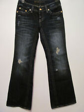 Hydraulic Flare Blue Jeans Jr Sz 7/8 Destroyed Sparkly Metallic Gold 32 x 32.5