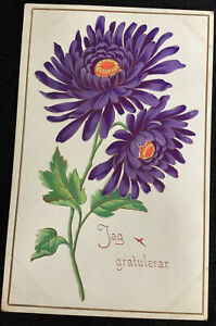 jag gratulerar swedish vintage congratulations Postcard purple flowers Sweden