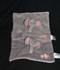Lot 2 Peluche doudou éléphant plat BABYLOVE DM gris rose coeur brodés TTBE