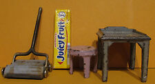 3 VINTAGE KILGORE OLD CAST IRON TOYS, SWEEPER * UTILITY TABLE & SMALL STOOL T444