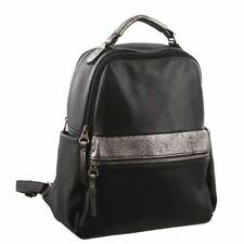 Pierre Cardin Ladies Soft Leather Backpack Black Metallic Silver Bag
