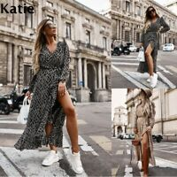 Womens sexy Ladies Long Dresses Loose Stretch cosy Party Maxi Wrap Dresses