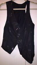 IF SIX WAS NINE Maniac Corp Black Leather Jacket Asymmetrical Vest Embellished 1