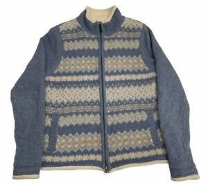 LL Bean Womens S Faux Shearling Nordic Fair Isle Sweater Jacket LambsWool Blue