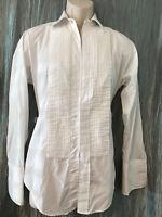 Lion of Troy Tuxedo Shirt Size 14.5 32 White Pintuck Long Sleeve Permanent Press