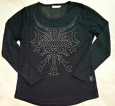 MICHA Woman's Black Long Sleeve Studded Fashion top size L RRP£35 NEW GIFT