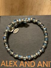ALEX and ANI VINTAGE 66 Blue Square Iridescent Beaded Wrap BRACELET