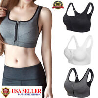 Womens Zip Front Sports Bra Yoga Removable Pads Seamless Zipper Tops Fashion Hot