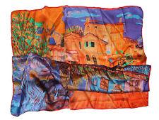 Foulard Carre  Echarpe en 100 % Soie - impressionniste village Orange bleu,...