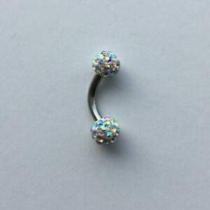 Sterilized Ferido Crystal Paved Rainbow Color VCH Piercing Barbell.