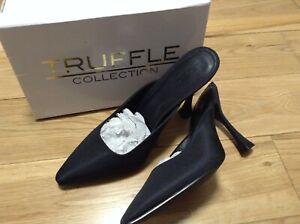 Designer Truffle Ladies Black Canvas Kitten Heel Sling Back Shoes Size 7 UK