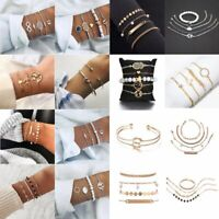 Fashion Charm Women Stainless Steel Cuff Open Boho Beaded Chain Bracelet Bangle