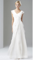 Adrianna Papell Cap Sleeve Tiered Silk Chiffon Gown Ivory White Wedding BHLDN