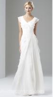 Adrianna Papell Cap Sleeve Tiered Silk Chiffon Gown Ivory White Wedding BHLDN