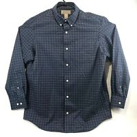 Duluth Trading Co Mens Blue Plaid Long Sleeve Button Down Shirt Size Medium