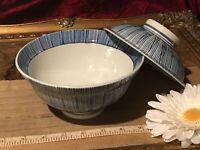 Asian Porcelain Blue & White Striped Bowl & Lid Marked