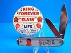 VINTAGE ELVIS PRESLEY MEMORIAL POCKET KNIFE VERY RARE PINBACK BUTTON