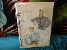 40s Simplicity Men's shirt sewing pattern 1952 15.5/40 chest