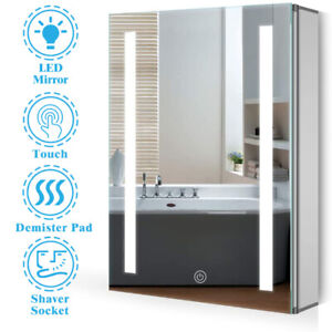 Anti-fog Bathroom LED Mirror Cabinet with Touch Sensor Switch and Shaver Socket