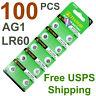 100 PCS LR60 AG1 364 LR621 1.5V Alkaline Battery Watch Remote