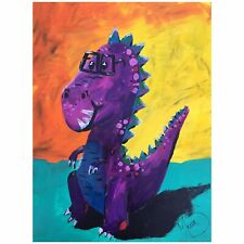 Maria Scalf Dinosaur T Rex Kid Home Decor Cartoon Pink ORIGINAL PAINTING 9x12
