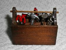 NEW WOODEN TOOL BOX w/ 8 Metal Tools for Dollhouse Miniature or FAIRY GARDEN NIP