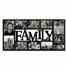 "Black Plastic ""Family"" Wall Hanging Collage Picture Photo Frame 4-5x7""; 6-4x6"""
