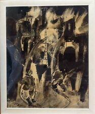 Moris GONTARD,né en 1940.L'Incendie.Encre et lavis.SBD.Daté M69.40x32.Cadre.