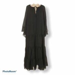 Textile Elizabeth and James Candice Black Tier Maxi Long Sleeve Dress