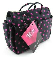 "Periea Handbag Organiser | 13 Compartments ""Sash"" Black & Pink Hearts"