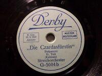 """STREICHORCHESTER """"Die Czardasfürstin - Potpourri - Kálmán"""" Derby 20cm 78rpm 1929"""