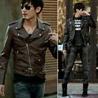 New Men's Chic Belted Design Rider Slim Fit Coat Sexy PU Leather Biker Jacket ha