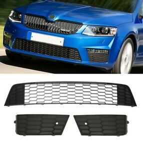 NEW GENUINE  FRONT BUMPER GRILLES SET SKODA OCTAVIA RS VRS from 2013 to 2017